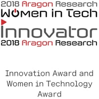 Aragon Research Innovation Award and Women in Technology Award logo